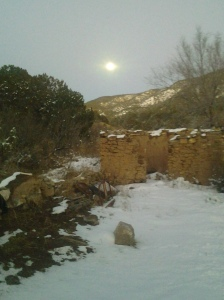 Moon over adobe at Bent